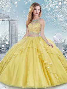 Scoop Sleeveless Clasp Handle Ball Gown Prom Dress Gold Tulle