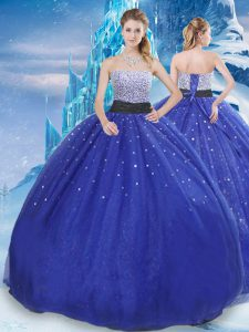 Fantastic Strapless Sleeveless Lace Up Quinceanera Dresses Royal Blue Tulle