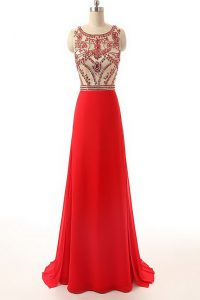 Sleeveless Chiffon Brush Train Side Zipper Prom Evening Gown in Red with Beading