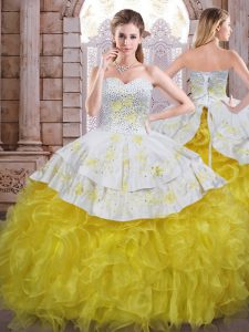 Admirable Sleeveless Lace Up Floor Length Beading and Appliques and Ruffles Quinceanera Dresses