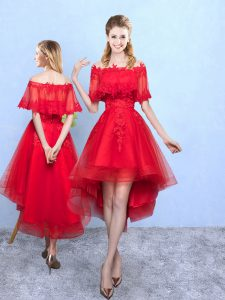 High Quality Off The Shoulder Half Sleeves Lace Up Vestidos de Damas Wine Red Organza
