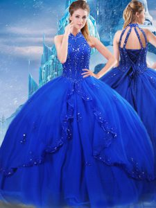 Stylish Royal Blue High-neck Neckline Beading and Ruffles Ball Gown Prom Dress Sleeveless Lace Up