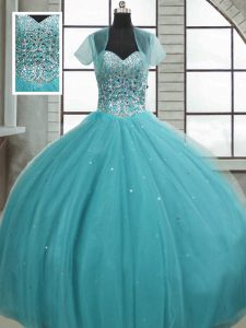 Designer Sleeveless Floor Length Beading and Sequins Lace Up Quinceanera Gowns with Aqua Blue