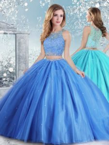 Sleeveless Clasp Handle Floor Length Beading and Sequins Sweet 16 Quinceanera Dress