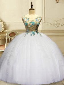White Ball Gowns Organza Scoop Sleeveless Appliques and Ruffles Floor Length Lace Up Quinceanera Gown
