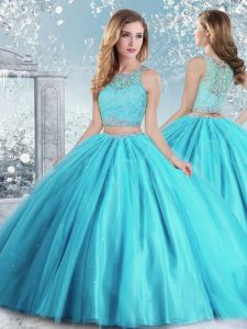 Tulle Sleeveless Floor Length Ball Gown Prom Dress and Beading and Sequins