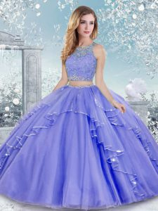 Exceptional Lavender Clasp Handle Scoop Beading and Lace Quinceanera Dress Tulle Sleeveless