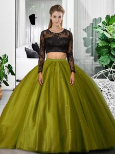 Olive Green Two Pieces Lace and Ruching Sweet 16 Dress Backless Tulle Long Sleeves Floor Length