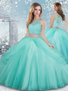 Extravagant Aqua Blue Ball Gowns Beading and Lace Sweet 16 Quinceanera Dress Clasp Handle Tulle Sleeveless Floor Length
