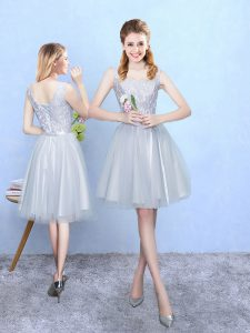 Wonderful Empire Dama Dress for Quinceanera Silver Square Tulle Sleeveless Knee Length Lace Up
