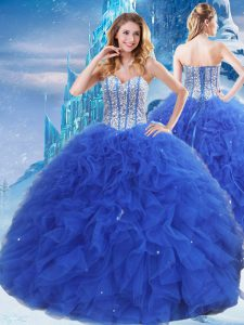 Royal Blue Ball Gowns Sweetheart Sleeveless Organza Floor Length Lace Up Beading and Ruffles and Sequins 15 Quinceanera Dress