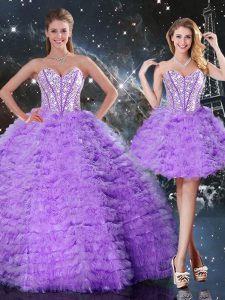 High End Lavender Lace Up Sweetheart Beading and Ruffled Layers Sweet 16 Dresses Organza Sleeveless