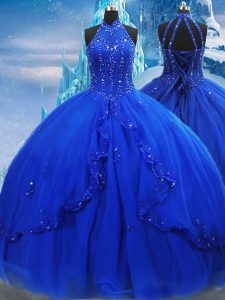 Glorious Royal Blue Sweet 16 Dresses Military Ball and Sweet 16 and Quinceanera with Beading and Ruffles High-neck Sleeveless Brush Train Lace Up