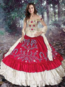 Embroidery and Ruffled Layers Quinceanera Dress Red Lace Up Sleeveless Floor Length