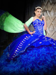 Ball Gowns Sleeveless Royal Blue Ball Gown Prom Dress Brush Train Lace Up