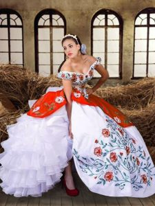 Smart Floor Length Multi-color Sweet 16 Quinceanera Dress Off The Shoulder Sleeveless Lace Up