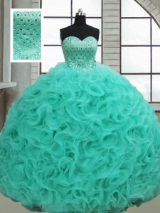 Turquoise Fabric With Rolling Flowers Lace Up Quinceanera Gowns Sleeveless Brush Train Beading