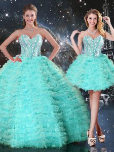 Modest Turquoise Lace Up Quinceanera Dress Beading and Ruffled Layers Sleeveless Floor Length
