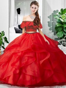 Amazing Sleeveless Tulle Floor Length Lace Up Quince Ball Gowns in Red with Lace and Ruffles
