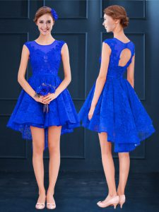 Hot Sale Royal Blue Sleeveless Lace and Belt High Low Quinceanera Dama Dress