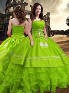 Ball Gowns Embroidery and Ruffled Layers Sweet 16 Dress Zipper Taffeta Sleeveless Floor Length