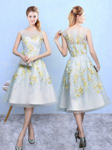 Beautiful Knee Length Multi-color Vestidos de Damas Organza Sleeveless Embroidery