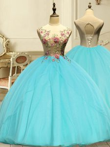 Aqua Blue Lace Up Quinceanera Gowns Appliques Sleeveless Floor Length