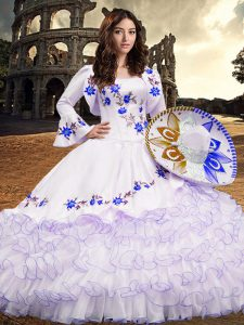 Floor Length Royal Blue Quinceanera Dresses Square Long Sleeves Lace Up