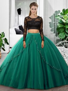 Sophisticated Tulle Scoop Long Sleeves Backless Lace and Ruching 15th Birthday Dress in Dark Green