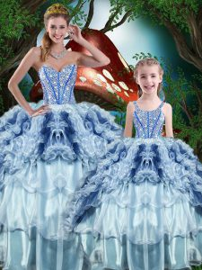 Floor Length Multi-color Quinceanera Gown Sweetheart Sleeveless Lace Up