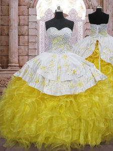 Cute Yellow And White Sweet 16 Dress Organza Brush Train Sleeveless Beading and Appliques and Ruffles