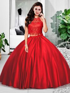 Modest Wine Red Two Pieces Taffeta Halter Top Sleeveless Lace and Ruching Floor Length Zipper Sweet 16 Dress