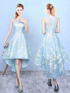 Modern Aqua Blue Sleeveless High Low Embroidery Zipper Quinceanera Dama Dress