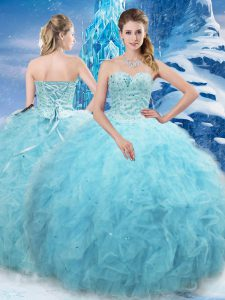Aqua Blue Ball Gowns Sweetheart Sleeveless Tulle Floor Length Lace Up Beading and Pick Ups 15th Birthday Dress