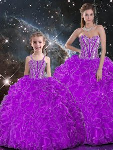 Affordable Sleeveless Floor Length Beading and Ruffles Lace Up Quince Ball Gowns with Purple