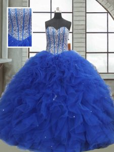Decent Sleeveless Floor Length Beading and Ruffles and Sequins Lace Up Quinceanera Gowns with Royal Blue