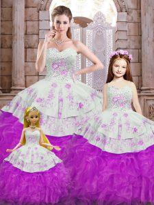 Floor Length White And Purple Sweet 16 Dresses Organza Sleeveless Beading and Appliques and Ruffles