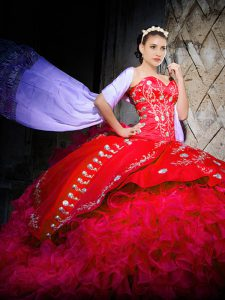Red Ball Gown Prom Dress Military Ball and Sweet 16 and Quinceanera with Embroidery and Ruffles Sweetheart Sleeveless Brush Train Lace Up