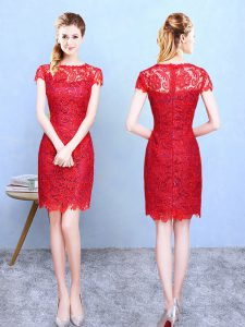 Luxurious Knee Length Red Court Dresses for Sweet 16 Bateau Short Sleeves Zipper