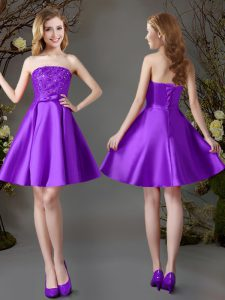 Sleeveless Lace Up Mini Length Beading Dama Dress for Quinceanera