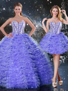 Clearance Ball Gowns Sweet 16 Dresses Purple Sweetheart Organza Sleeveless Floor Length Lace Up
