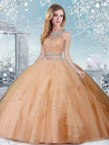 Vintage Ball Gowns Quinceanera Gown Champagne Scoop Tulle Sleeveless Floor Length Clasp Handle