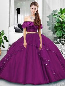 Off The Shoulder Sleeveless 15th Birthday Dress Floor Length Lace and Ruffles Eggplant Purple Tulle