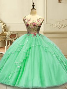 Top Selling Sleeveless Lace Up Floor Length Appliques Quinceanera Dresses