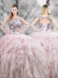 Stylish Pink Sleeveless Floor Length Ruffles Zipper Quince Ball Gowns