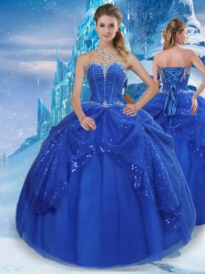 Customized Floor Length Royal Blue Quinceanera Dresses Tulle Sleeveless Beading and Pick Ups