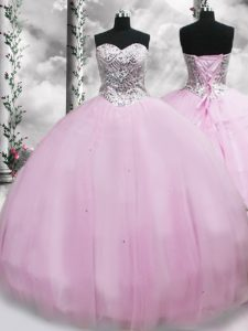 New Arrival Ball Gowns Sleeveless Lilac Ball Gown Prom Dress Brush Train Lace Up