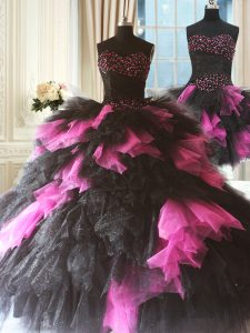 Pink And Black Three Pieces Sweetheart Sleeveless Tulle Floor Length Lace Up Beading and Ruffles Quince Ball Gowns