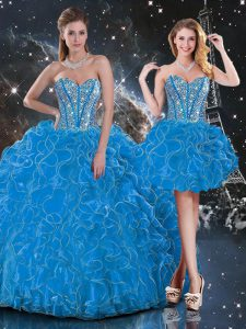 Hot Selling Sweetheart Sleeveless Organza Ball Gown Prom Dress Beading and Ruffles Lace Up