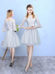 Affordable Silver Tulle Lace Up Off The Shoulder Half Sleeves With Train Quinceanera Dama Dress Lace